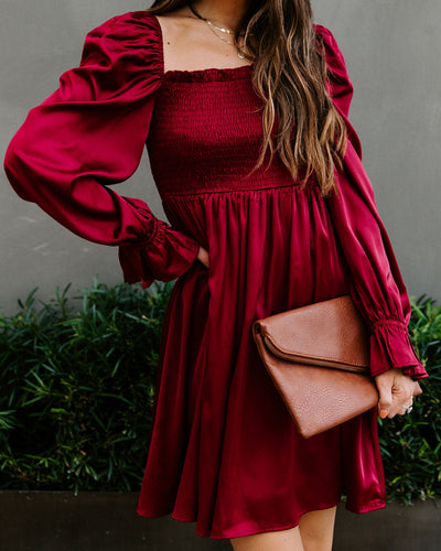Sleigh Bell Satin Smocked Dress - Burgundy