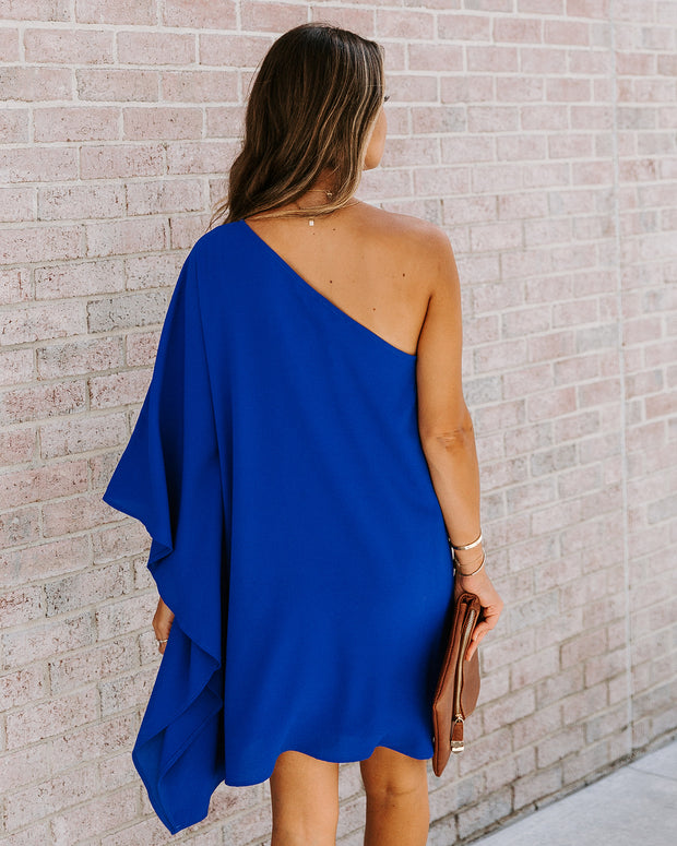 Side To Side One Shoulder Statement Dress - Royal Blue view 2