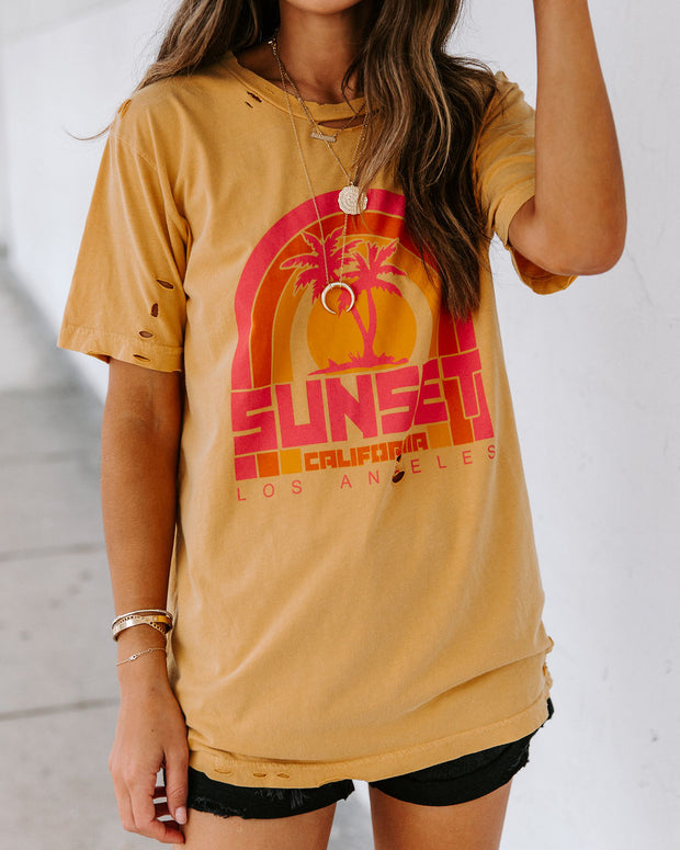 Sunset Palms Distressed Cotton Tee