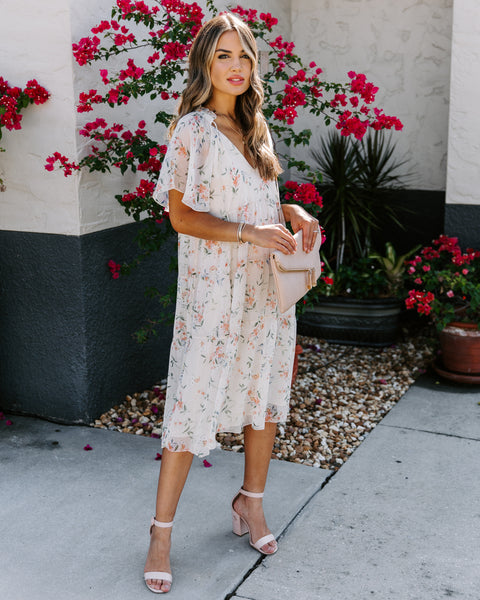 Indie Floral Tiered Midi Dress