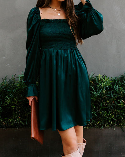 Sleigh Bell Satin Smocked Dress - Hunter Green