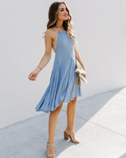 Darcy Distressed Halter Tunic - Chambray Blue