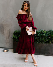 Alicia Off The Shoulder Tiered Midi Dress - Burgundy