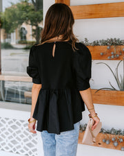 Poppins Cotton Puff Sleeve Peplum Top - Black