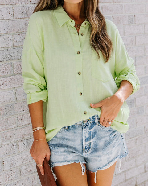 Key Lime Linen Blend Button Down Top