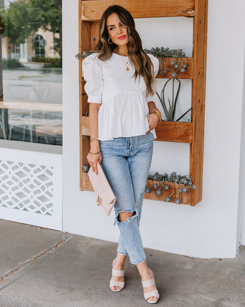 Poppins Cotton Puff Sleeve Peplum Top - Off White