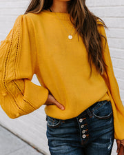Leeds Balloon Sleeve Knit Pom Sweater