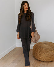 Ginny Cotton Blend High Rise Pants - Charcoal
