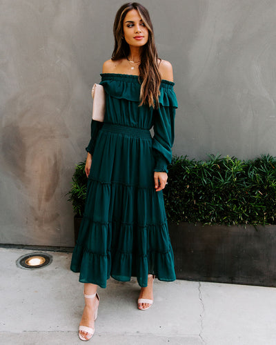 Alicia Off The Shoulder Tiered Midi Dress - Hunter Green