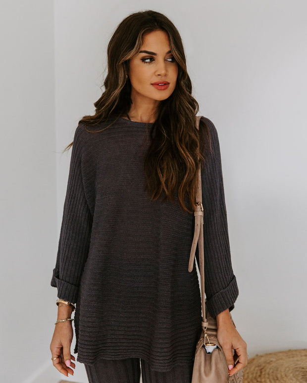 Ginny Cotton Blend Sweater Top - Charcoal