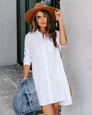 Risky Business Pocketed Button Down Shirt Dress - White