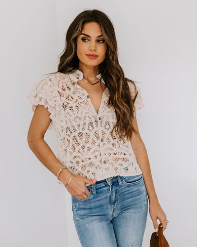 Darla Cotton Crochet Button Down Top