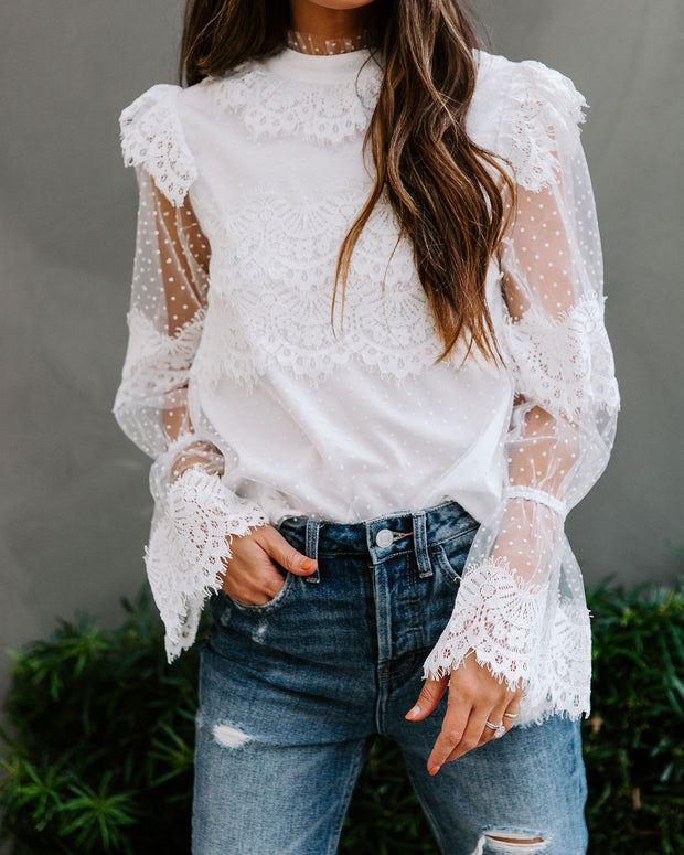 Love You Like Crazy Swiss Dot Lace Blouse