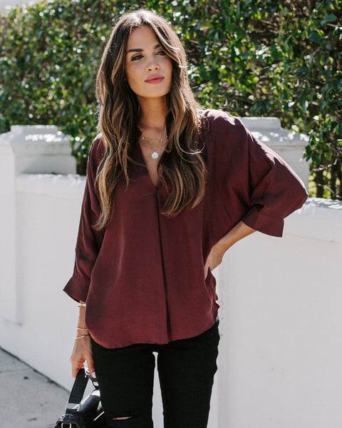 Stay Focused Dolman Top - Merlot - FINAL SALE