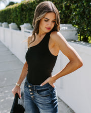 Tampa One Shoulder Bodysuit - Black