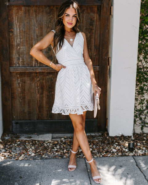 Forget Me Not Crochet Ruffle Dress - White