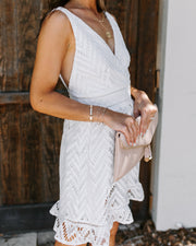 Forget Me Not Crochet Ruffle Dress - White - FINAL SALE