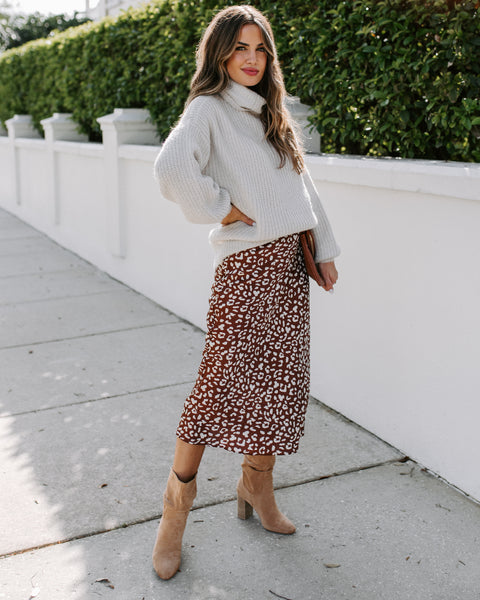 Toby Satin Leopard Midi Skirt - FINAL SALE