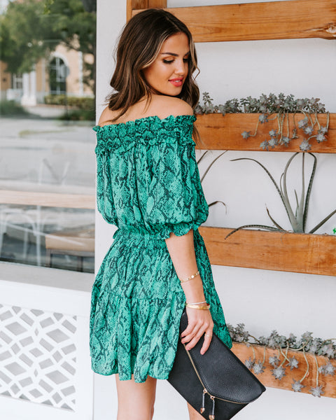 Rules Of The Jungle Smocked Off The Shoulder Dress - FINAL SALE