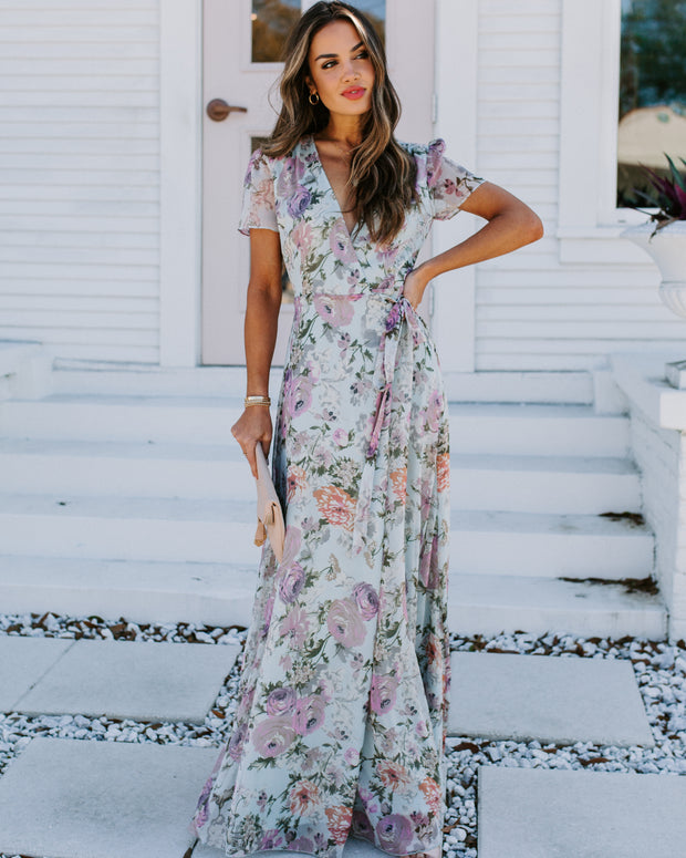French Flair Floral Wrap Maxi Dress
