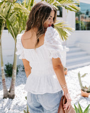 'Til Sundown Cotton Eyelet Puff Sleeve Peplum Top