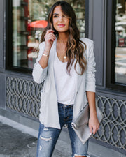 Handful Of Glitter Pocketed Blazer - Silver