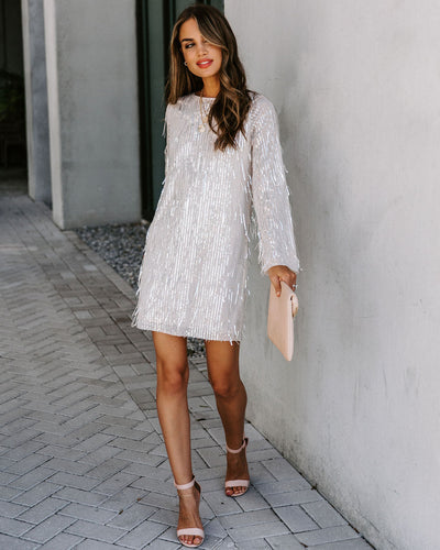 Love Train Sequin Fringe Shift Dress