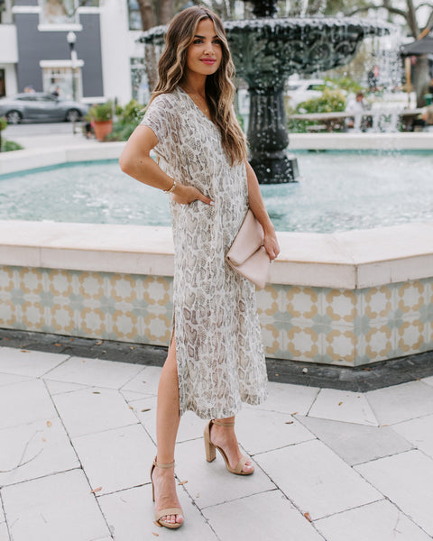 Camino Snake Print Metallic Midi Dress