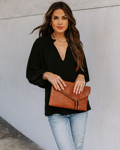 Seen It All Balloon Sleeve Blouse - Black