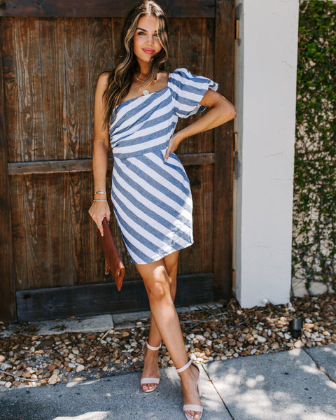 Houseboats Cotton Striped One Shoulder Dress
