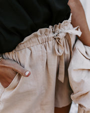 More Daylight Cotton + Linen Pocketed Shorts - Beige