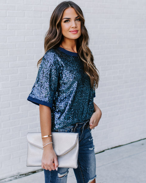 Dress-Up Short Sleeve Sequin Top - Blue - FINAL SALE