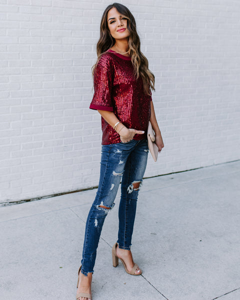 Dress-Up Short Sleeve Sequin Top - Burgundy