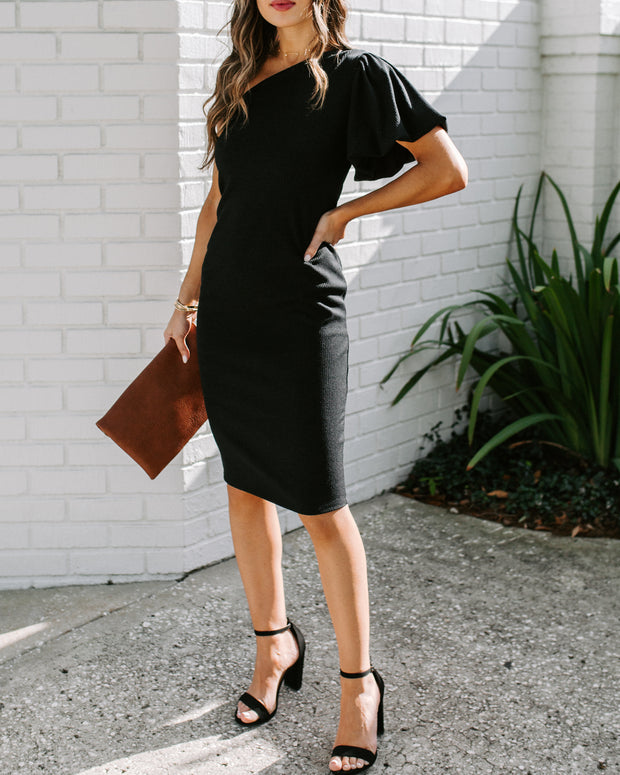 Rachael One Shoulder Puff Sleeve Ribbed Midi Dress
