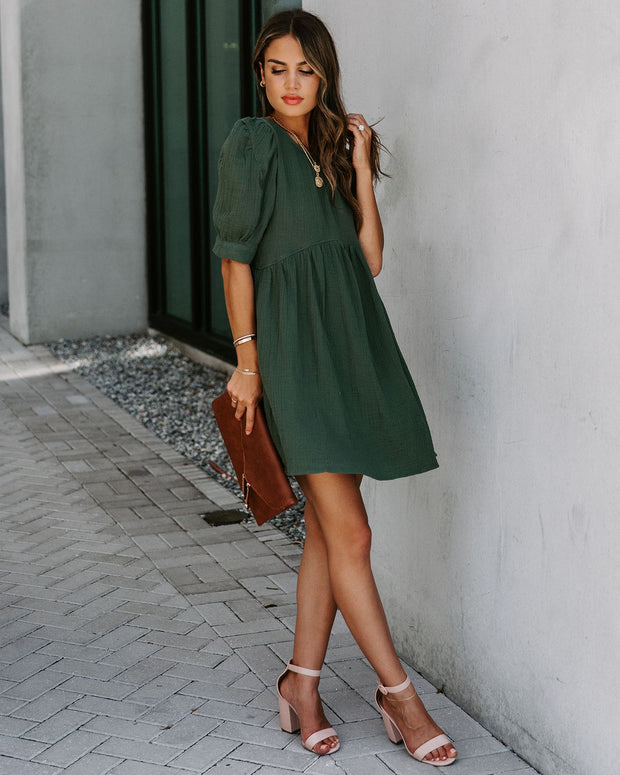 Amber Cotton Pocketed Puff Sleeve Dress - Hunter Green