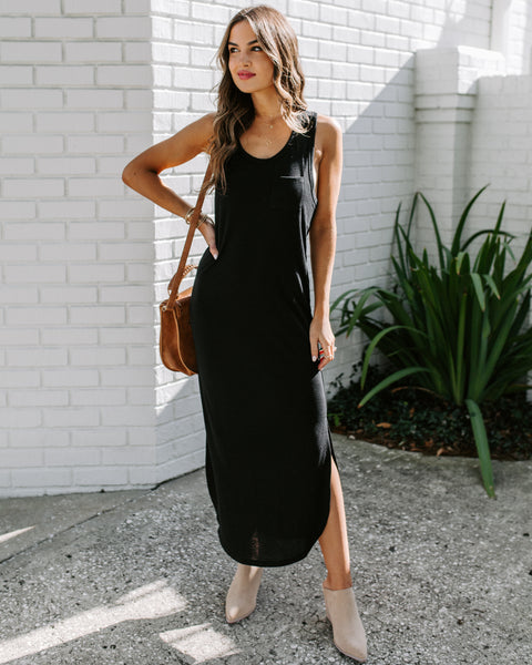 Humor Me Knit Midi Tank Dress - Black