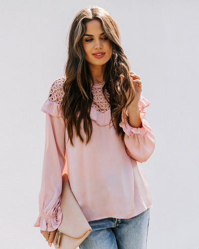 Finest Hour Satin Crochet Blouse