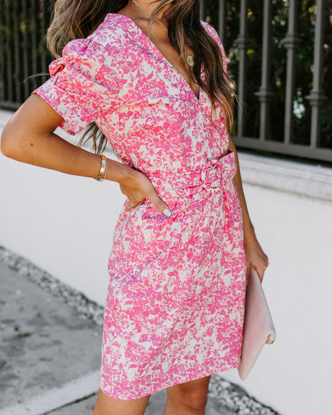 Belt It Cotton Pocketed Floral Dress