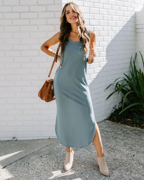 Humor Me Knit Midi Tank Dress - Blue Grey