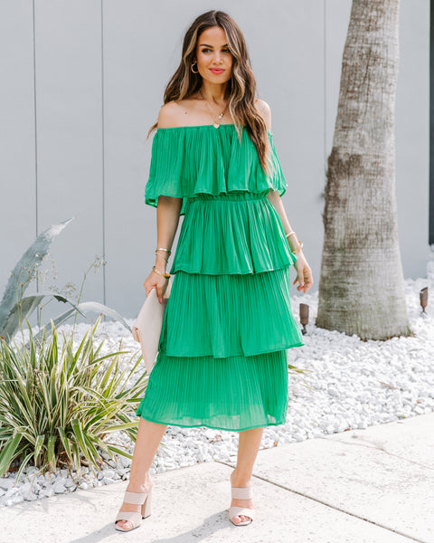 Versailles Tiered Off The Shoulder Pleated Midi Dress - FINAL SALE