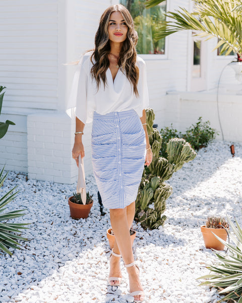 Shipshape Cotton Blend Striped Button Down Skirt - FINAL SALE