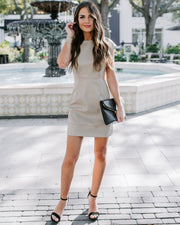 Metropolitan Faux Leather Cut Out Dress - Taupe - FINAL SALE