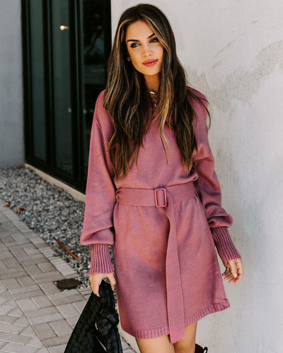 Perry Belted Knit Sweater Dress - Mauve