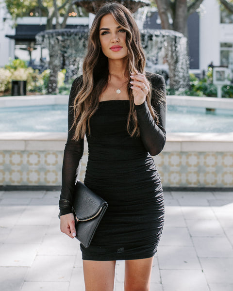 Zofia Ruched Mesh Bodycon Dress