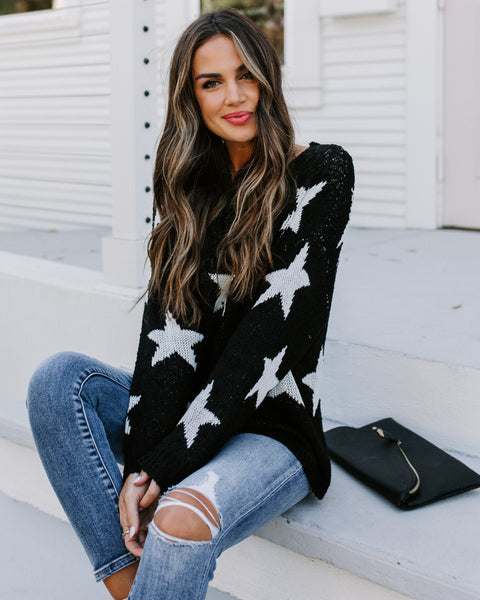 Make Headlines Knit Star Sweater - Black