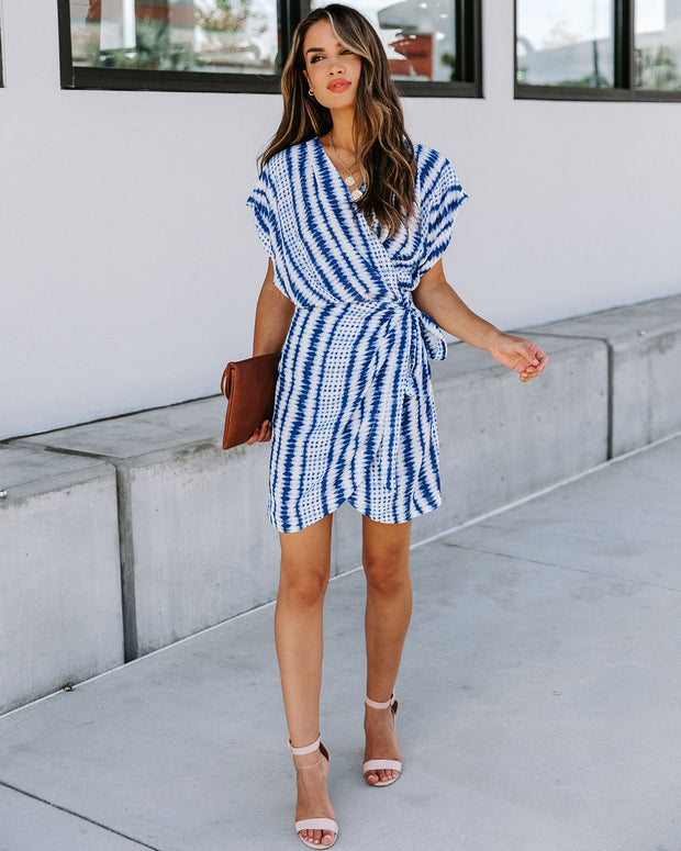 Around The Globe Printed Wrap Dress