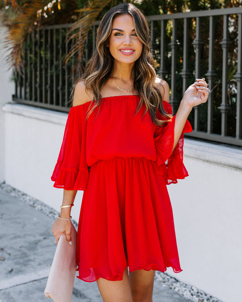 Raphael Ruffle Off The Shoulder Chiffon Dress - Red
