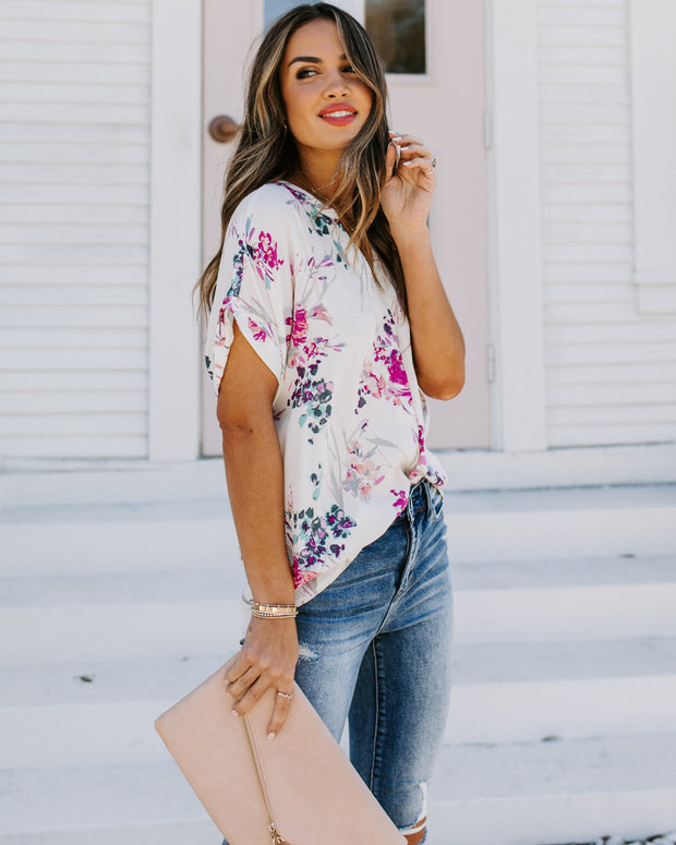 Controlled Chaos Short Sleeve Floral Blouse