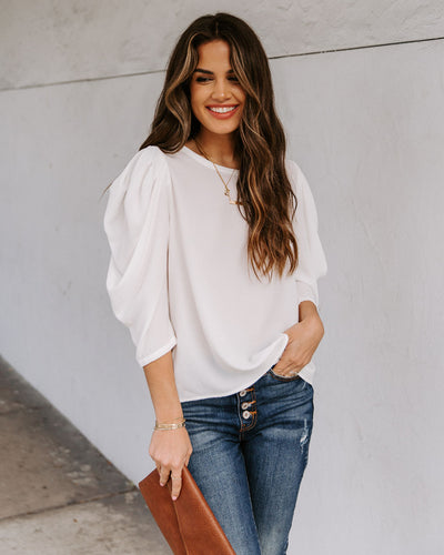 Kingston Statement Sleeve Top - White