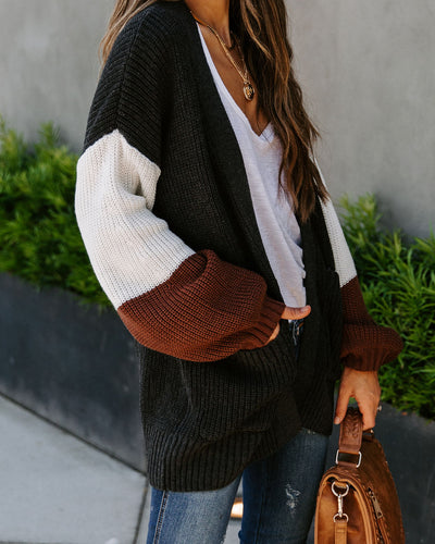Check The Weather Pocketed Colorblock Cardigan